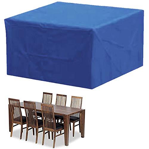Funda Protectoras Muebles Jardin, Funda para Muebles de Jardín Impermeable a Prueba de Viento Cubierta de Mesa de jardín Paño Oxford 210D Cubierta de Mesa de jardín para Patio -Azul 115x115x70cm