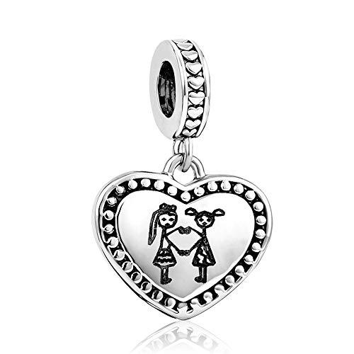 MiniJewelry Sisters Love Heart Charm for Bracelets fits Pandora Bracelets Women Dangle Charm Engraved Always My Sister FOREVER My Friend