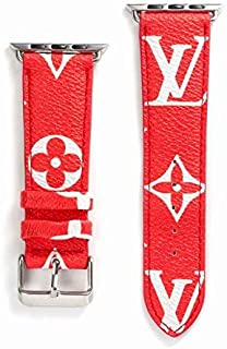 A+NYC 38 Compatible Apple Watch Straps 38mm (fit for 40mm), Luxury Fashion PU Leather Classic Wrist Bands for Women and Men, Replacement for Apple Watch Series 4 3 2 1 38/40MM (Monogram Red)
