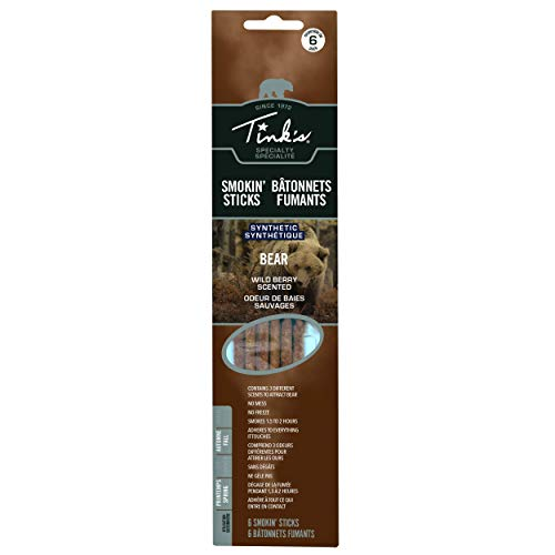 TINK'S W6102 Rut Smokin Sticks Bear Lure | 6 Pack | Wild Berry Scent | No Mess Scent Lure Bear Hunting Accessories, Use Smoke Stack | Smoked for Up to 2 Hours, Brown