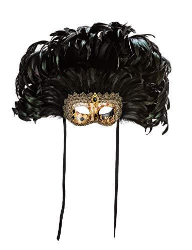 Venezianische Maske mit schwarzem Mosaikdekor und Blattgold, Federn sowie Satinschnüren. Made In Italy.