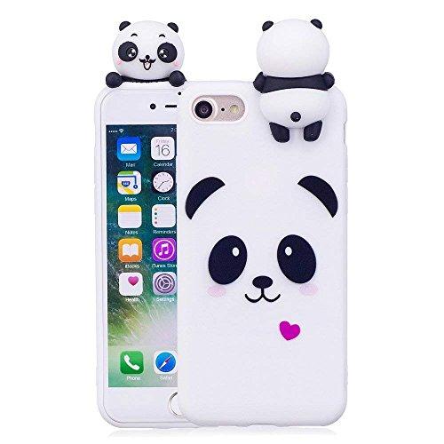 LAPOPNUT 3D Cartoon Panda Hülle for iPhone 7 Hülle iPhone 8 Hülle iPhone SE 2020 Hülle Soft Back Cover Handyhülle Candy Farbe Lovely Panda Bear Design Slim Flexible Schutzhülle Bumper, White
