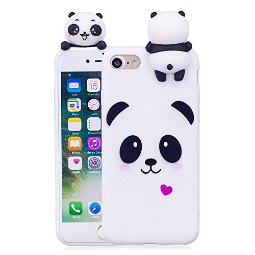 LAPOPNUT 3D Cartoon Panda Case for iPhone 6 Plus iPhone 6S Plus Hülle Soft Back Cover Handyhülle Candy Farbe Lovely Panda Bear Design Slim Flexible Schutzhülle Bumper, White