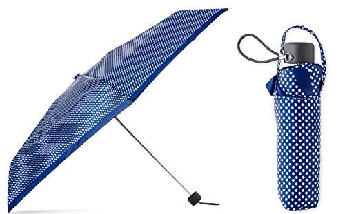 Totes Micro Mini Manual Compact Umbrella, NeverWet technology (Navy Polka Dot)