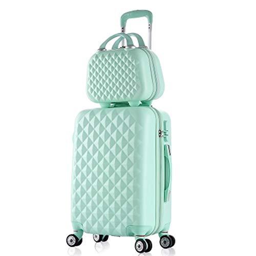 Gepäck Studentinnen Trolley Spinner Boarding Gepäck Frau Rollkoffer Reisetasche 14 Zoll Kosmetiktasche 20/24 Zoll (Farbe : Mint Green, Luggage Size : 20')