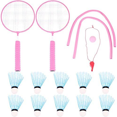 RENFEIYUAN Kinderschläger Spiel Set farbige Tennis Badminton Praxis Übung Spiel Indoor Sport Freizeit Spielzeug für Kinder Kindergarten Blau Badminton Sets (Color : Pink)