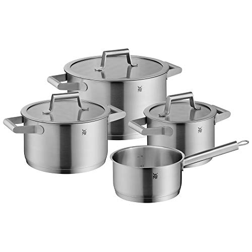 WMF 732146040 Comfort Line Topfset Induktion 4-teilig Cromargan Matte Stainless Steel Pots Set with Glass Lid, Scale, Stackable, Uncoated, 18/10