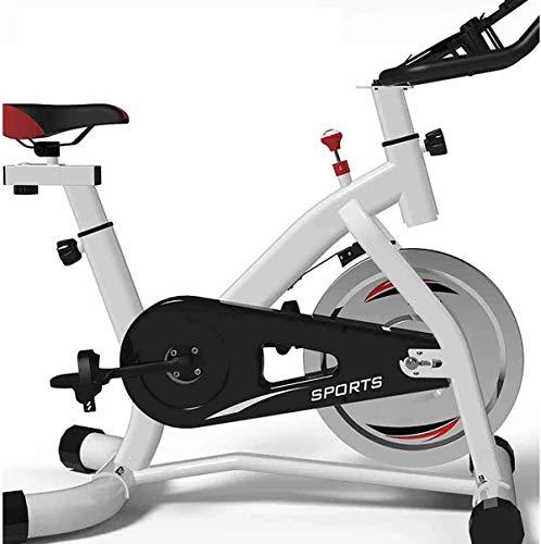 WERFFT Indoor Cycling Bike, Übung Radfahren Rennrad Riemenantrieb, Home Fitness Trainer Heimtrainer, Upright Sportgeräte, Schwarz, Weiß,Weiß