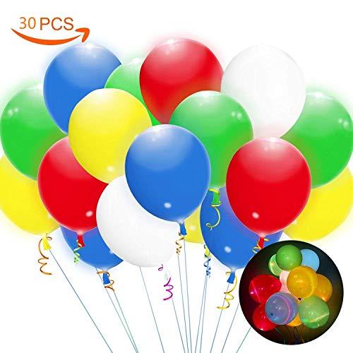 LED Luftballons 30 Stücke LED Leuchtende Ballons Bunte Ballons Partyballon Spielzeug, 24 Stunden Leuchtdauer für Party, Geburtstag, Hochzeit, Festival, Weihnachten, Fasching, Valentinstag