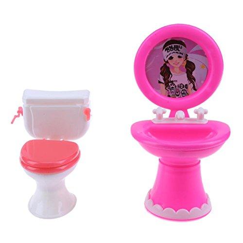 Domybest 1 Set Badezimmer Möbel Puppe Zubehör Spielzeug Kunststoff Toilette WC (Random)