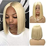 Myfashionhair Short Human Hair Bob Wigs Blonde 13X4 Lace Frontal Pre Plucked Bob Wig 180% Density Thick Silk Straight Middle Part #613 Bleach Blonde Real Hair Bob Wig Adjustable Cap 8 Inch for Women