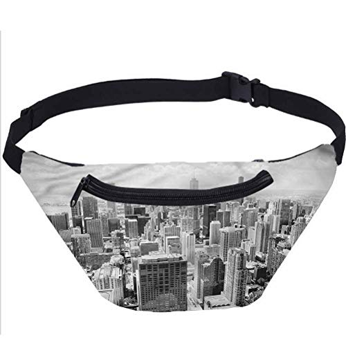 USA Fanny Pack Bag,Aerial View Contemporary Places Running Travel Sports Bags