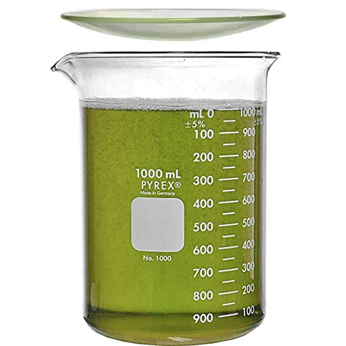 Corning Pyrex 1000-1L, 1000ml Glass Beaker with Corning Pyrex 9985-125, 125mm Watch Glass, Low Form Griffin, Double Scale (Single)