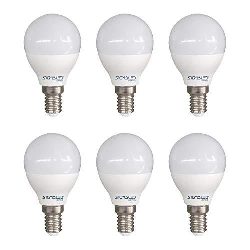 SIGMALED LIGHTING PACK 6 LAMPADINE LED E14 6W (equivalente a 40W), 480 lumen, lampadina piccola MINI GLOBO P45 con luce bianca calda 2800K 45x78mm, Classe di efficienza energetica A+