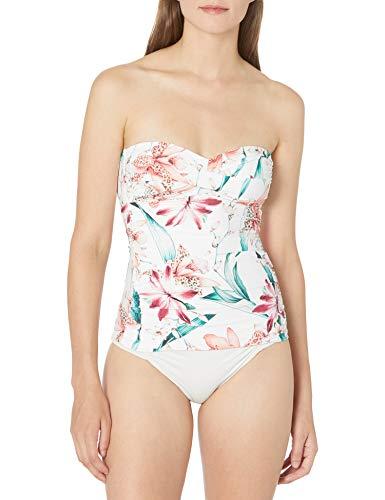 La Blanca Women's Bandeau Tankini Swimsuit Top, White//Flyaway Orchid, 10