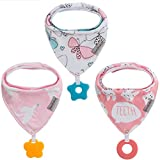 Baby Dreieckstuch Babylätzchen Bandana mit Beißspielzeug Einstellbar Spucktuch 100% Bio-Baumwolle, Super Saugfähig und Weiche, Halstücher Drool Lätzchen für Mädchen (3Pack Schmetterling)