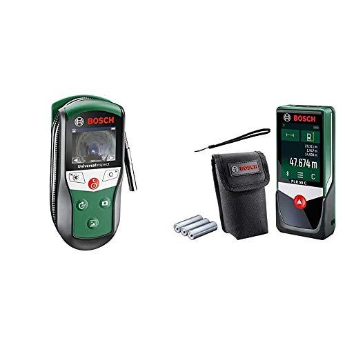 Bosch Inspektionskamera Universalinspec (Kamerakopf-Ø: 8mm, Kabellänge: 0,95 m, IP67, 2, 32 Zoll Farbdisplay, in Softtasche) & Bosch Laser-Entfernungsmesser PLR 50 C (Messbereich: 0,05 – 50 m)