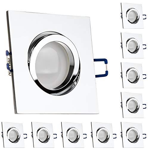 LEDANDO 10er LED Spanndecken Einbaustrahler Set Chrom 5W DIMMBAR GU10 Deckenstrahler - Spots - Deckspot - 230V