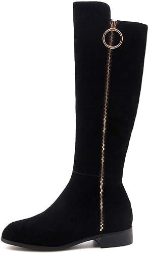 HGDR Stiefel Largas De damen para El Invierno Gamuza Negra Forro Polar Forro Rodilla Stiefel Altas Stiefel Largas De Martin De Montar Plana