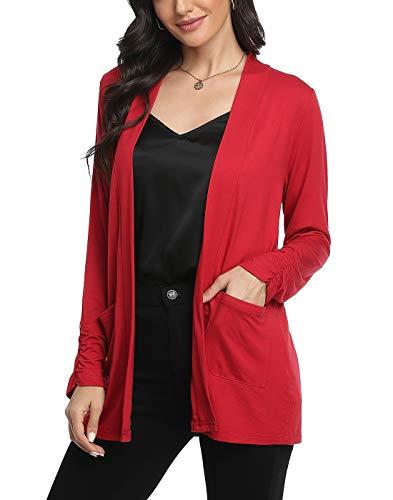 CARCOS Damen Open Knit Cardigan Dünne Langarm Casual Leicht Strickjacke mit 2 aufgesetzte Taschen,Rotwein,XL