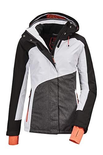 Killtec Damen Skijacke Savognin WMN Ski Jckt E, Farbe:weiß/schwarz/anthrazit Melange, Größe:38