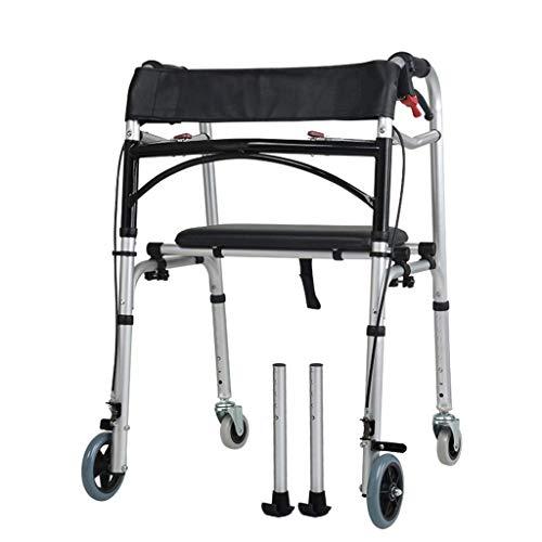 YHtech Andador de Ancianos Walker - Walker con Asiento y Freno de pie - Desactivado Plegable de Aluminio de aleación Booster - Transporte Multifuncional Ayuda Walker
