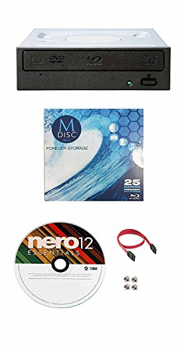 Pioneer 16X BDR-209DBK Internal Blu-ray Burner Bundle with 1 Pack M-DISC BD, Nero Burning Software and Cable Accessories (SATA Interface)