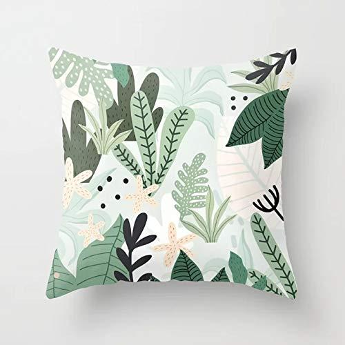 Tropical Throw Pillow Cover Flamingo Leaf Cactus Coconut Funda de cojín geométrica Funda de Almohada para sofá Funda de cojín A16 45x45cm 1pc