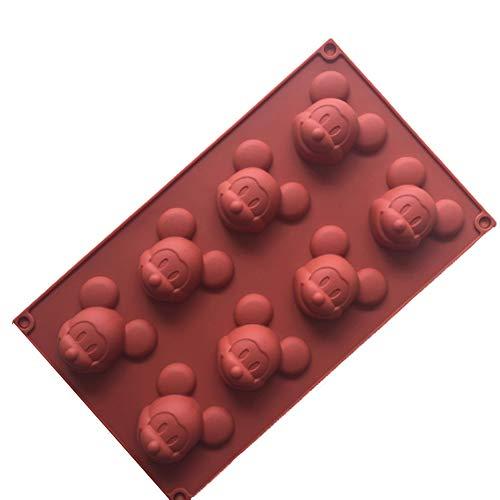 Romote Mickey Mouse Silikon-Kuchen-Muffin-Formen Kuchen Bakeware DIY Soap-EIS-Form 8 Cavity Siliconbasis Schokolade Teacake Backblech Küchen-Geräte zufällige Farbe