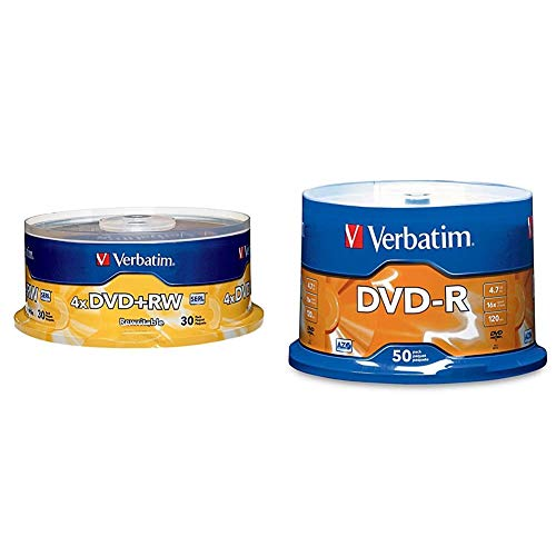 Verbatim DVD+RW 4.7GB 4X with Branded Surface - 30pk Spindle & DVD-R 4.7GB 16x AZO Recordable Media Disc - 50 Disc Spindle