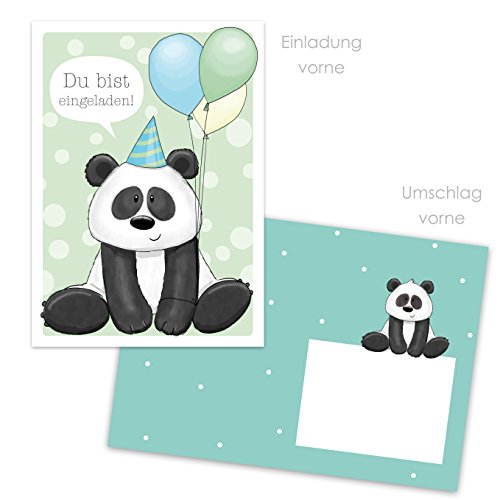 emufarm 10 EINLADUNGEN zum Kindergeburtstag Panda inklusive 10 passende Umschläge / Einladungskarten für Mädchen / Einladung Party