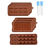 Moldes Chocolate, 9 Piezas Moldes Para Chocolate, Moldes Para Bombones de Chocolate con 2 Cuentagotas, para Chocolate, Caramelo, Gelatina, Cubo de Hielo