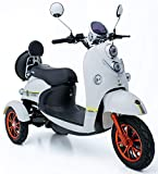 GreenPower 3 Wheeled Retro Style Electric Mobility Scooter (White)