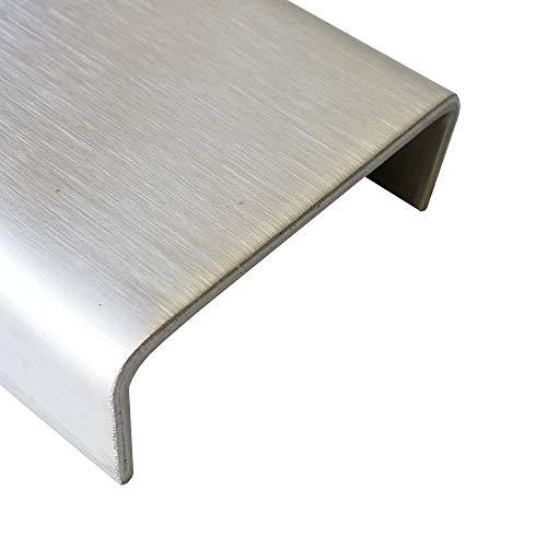 U-Profil Edelstahl k240 geschliffen 2000mm lang 0,8mm starke Abdeckprofile Abdeckschienen Mauerabdeckung Zarge Hohlprofil2 Meter (15x45x15mm)