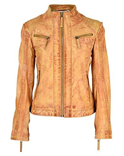 COCO BLACK LABEL since1986 Damen Lederjacke im Biker-Look mit Used-Look effeckt Zorina, Farbe:Cognac Braun, Größe:38