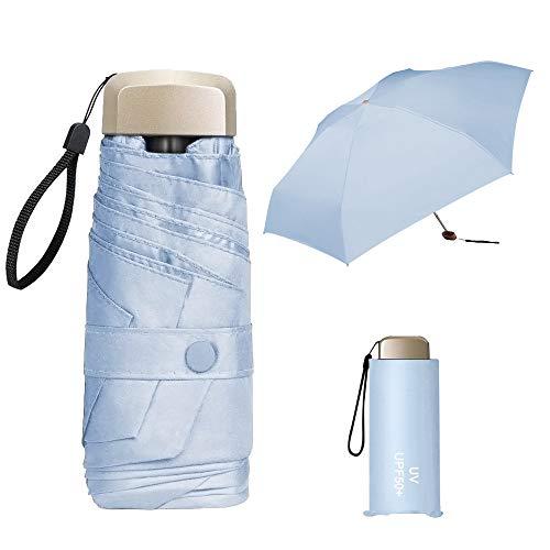 ZOCONE Mini Ombrello da Viaggio, Mini Ombrello Ultraleggero Portatile Compatto Ombrello Pieghevole Ombrello da Viaggio, 99% UV Resistenza & 100% Impermeabile (Blue)