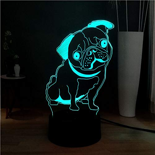 Sanzangtang Led-nachtlampje, 3D-afstandsbediening met zeven kleuren, acryl, bulldogge, mops, pup, baby, slaap, nachtlampje, sfeerlicht, vakantie, cadeau vriend of kindernachtlampje