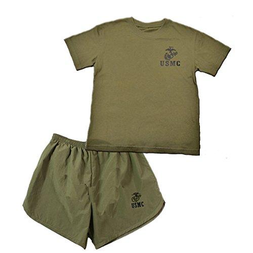Trooper Clothing Marine PT 2 PC Short Set (OD Green) (S (6-8))