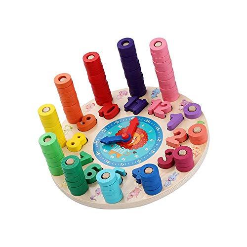 SYXX Kinder Lernspielzeug, Multifunktionsregenbogen-Digital Clock Wecker, Lernen der frühe Kindheit Digital Clock-Spielzeug, pädagogischer Unterricht Mathematisches logarithmisch Brett erlernt