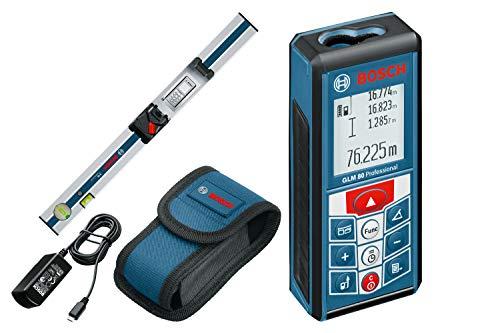 Bosch Professional GLM 80 + R 60 Medidor láser de distancias, batería de litio integrada, alcance 80 m, con regla inclinómetro, con funda