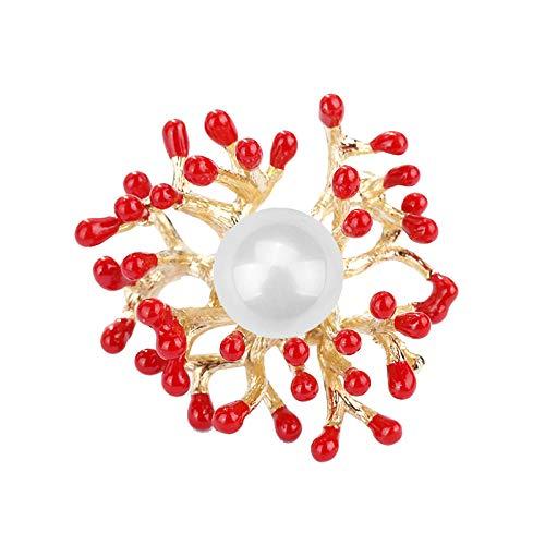 U/N Broches de Coral Rojo, alfileres de Perlas para Mujer, Abrigo, Ropa, joyería, Collar de Ramillete, joyería de Boda
