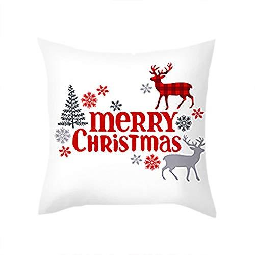 Zimmuy 1Pc Navidad Decoración Funda de Almohada 18x18 Pulgada Navidad Varios Dibujo Adorable Navidad Funda Cojines Pinturas Animadas(C)