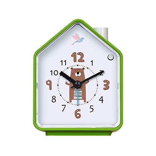 XT Cuckoo Bird wekker met nachtlampje Cartoon House Shape Silent Timer Mute Klok 83 * 55mm (Color : Green)