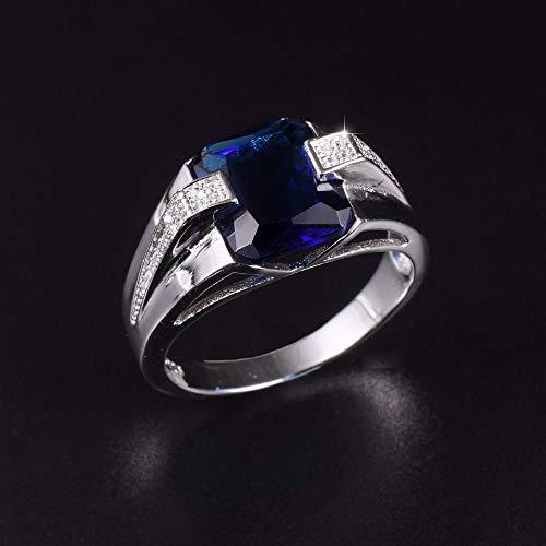 MYLDML Anillo Classic 925 streling Silver Square Blue Sapphire Rings Eternal Cocktail Anillo de Bodas para Hombres Wome Jewelry Boy Tamaño 8-13, Azul, 11