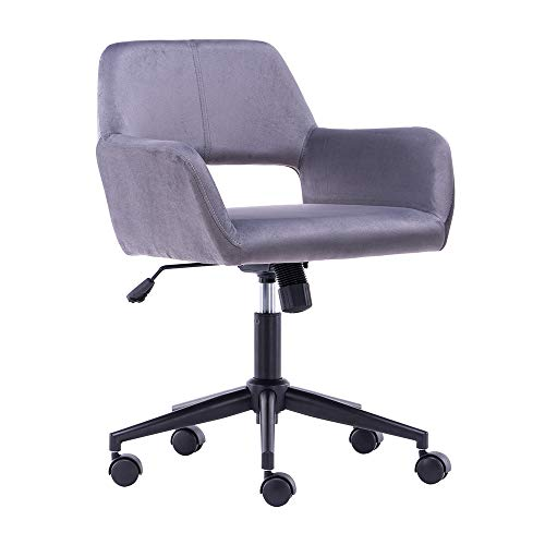 Rottnen High Adjustable Vanity Chair Home Office Desk Chairs with Upholstered Mid-Back Support, 360°Swivel Computer Chair with Soft Seat, Modern Velvet Task Chair, Stylish Bar Stool Chair, Silver