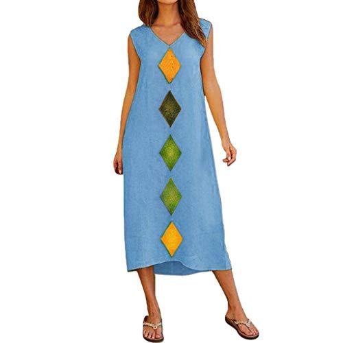 GOKOMO Damen Sommer ärmelloses V-Ausschnitt Baumwolle Leinen Bedruckt Casual Long Beach Kleid(Blau,Large)