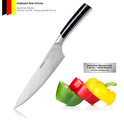 makami Master Chefmesser - extra scharfes, massives Kochmesser mit Griff aus Edelstahl - professionelles Küchenmesser