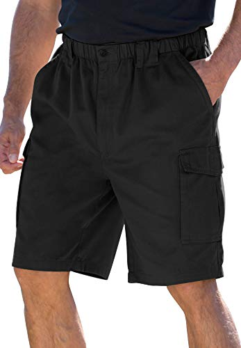 Boulder Creek by Kingsize Men's Big & Tall Renegade 9' Full Elastic Waist Single Pocket Cargo Shorts - Tall - 4XL, Black
