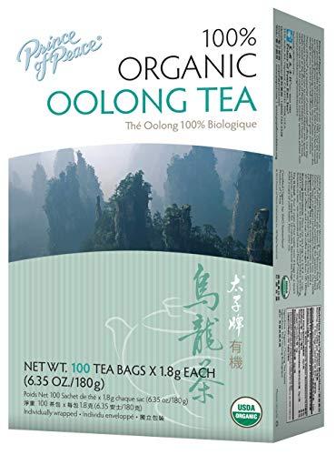 Prince of Peace Organic Oolong Tea, 100 Tea Bags – 100% Organic Black Tea – Unsweetened Black Tea – Lower Caffeine Alternative to Coffee – Herbal Health Benefits