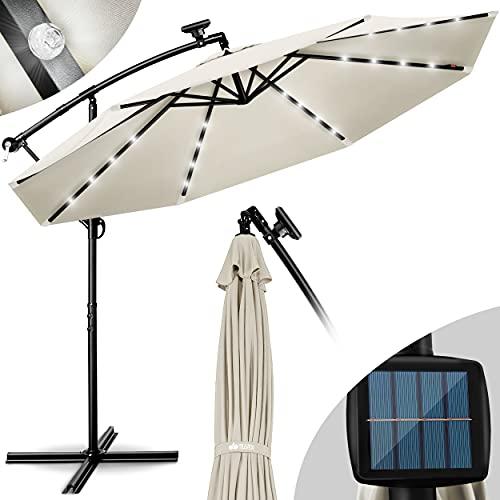 tillvex Alu Ampelschirm LED Solar Ø 300 cm mit Kurbel Beige | Sonnenschirm mit An-/Ausschalter | Gartenschirm UV-Schutz Aluminium | Kurbelschirm mit Ständer Marktschirm wasserdicht